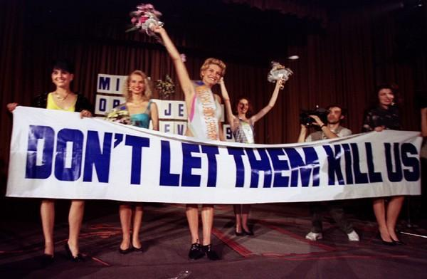 Miss Sarajevo protests the war in Bosnia and Herzegovina
